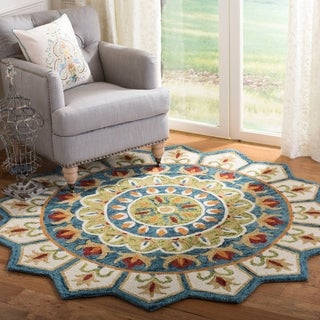 Safavieh Handmade Novelty Blue/ Ivory Wool Rug (4' Round)