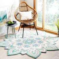 Safavieh Handmade Novelty Blue/ Ivory Wool Rug (6' Round)