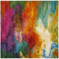 Safavieh Watercolor Orange/ Green Rug - 5' 3 square