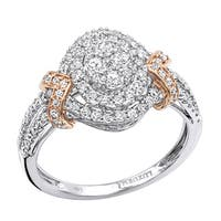 Luxurman Unique Affordable Halo Cluster Diamond Engagement Ring 0.9ct Two Tone 14K Gold