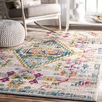 nuLoom Southwestern Medallion Ivory/Multicolored Synthetic Fabric/Nylon Indoor Rectangular Rug (8' x 10') - 8' x 10'