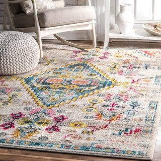 nuLOOM Ivory/Multicolored Southwestern Medallion Synthetic Fabric/Nylon Indoor Area Rug