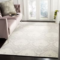 Safavieh Handmade Blossom Light Grey/ Ivory Wool Rug (6' Square)