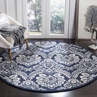 Safavieh Handmade Blossom Navy/ Ivory Wool Rug - 6' x 6' Round