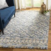 Safavieh Handmade Blossom Light Beige/ Blue Wool Rug - 6' Square