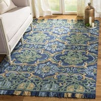 Safavieh Handmade Blossom Navy/ Green Wool Rug - 6' Square