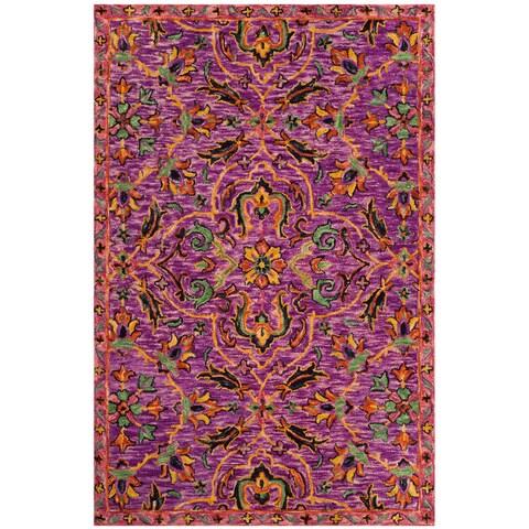 Safavieh Handmade Blossom Purple/ Multi Wool Rug - 6' x 6' Square