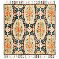 Safavieh Handmade Blossom Charcoal/ Gold Wool Rug - 6' Square