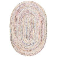 Safavieh Hand-woven Reversible Braided Beige/ Multi Cotton Rug - 3' x 5' oval