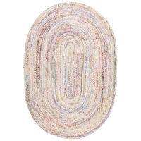 Safavieh Hand-Woven Braided Bohemian Ivory/ Multi Cotton Rug - 4' x 6' oval