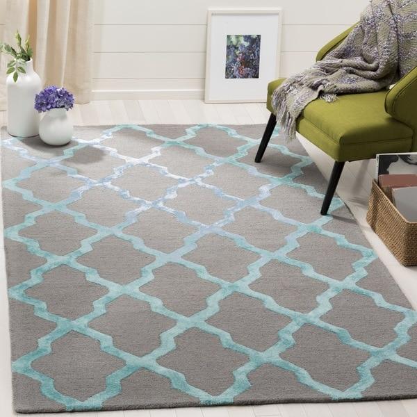 Safavieh Handmade Cambridge Grey/ Turquoise Wool Rug - 6' Square