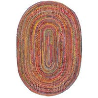 Safavieh Hand-Woven Cape Cod Red/ Multi Jute Rug - 4' x 6' oval