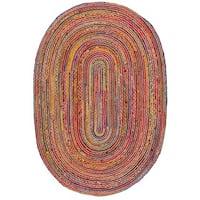 Safavieh Handmade Cape Cod Boho Braided Red/ Multi Cotton Rug - 5' x 8' Oval