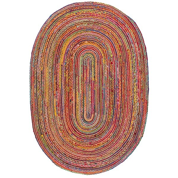 Safavieh Hand-Woven Cape Cod Red/ Multi Jute Rug - 5' x 8' Oval