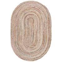 Safavieh Hand-Woven Cape Cod Beige/ Multi Jute Rug - 5' x 8' Oval