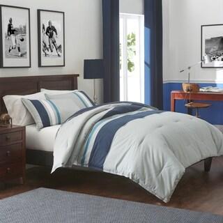 IZOD Saratoga Grey/Navy Comforter Set