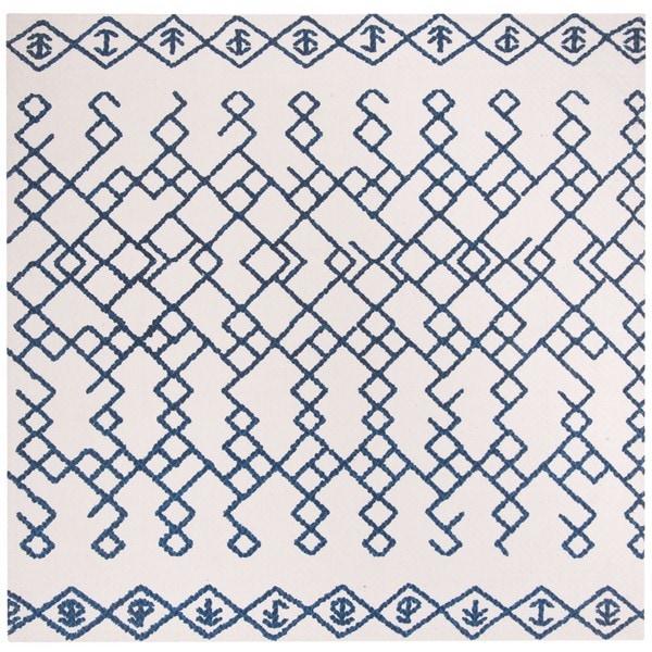 Safavieh Hand-Woven Cedar Brook Bohemian Ivory/ Navy Cotton Rug - 6' Square