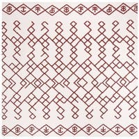 Safavieh Hand-Woven Cedar Brook Bohemian Ivory/ Rust Cotton Rug - 6' x 6' Square