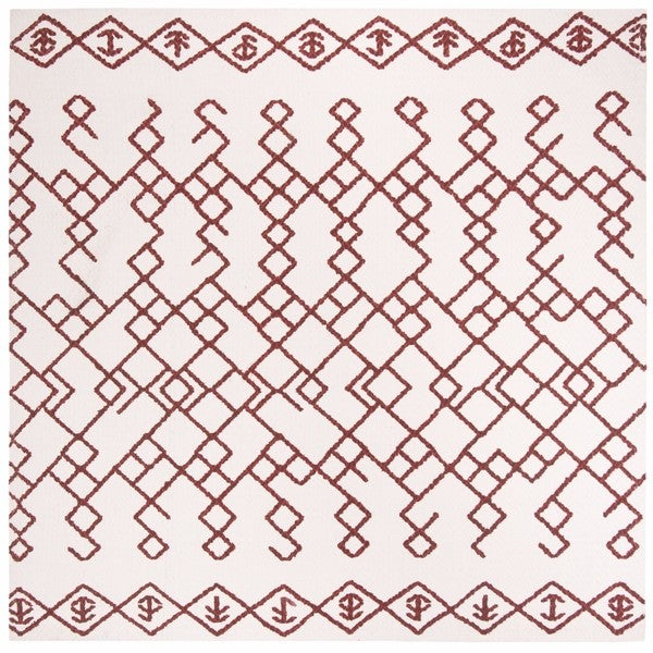 Safavieh Hand-Woven Cedar Brook Bohemian Ivory/ Rust Cotton Rug - 6' Square
