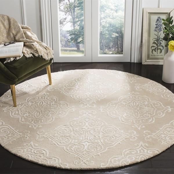 Safavieh Handmade Glamour Beige/ Ivory Viscose Rug (6' Round)