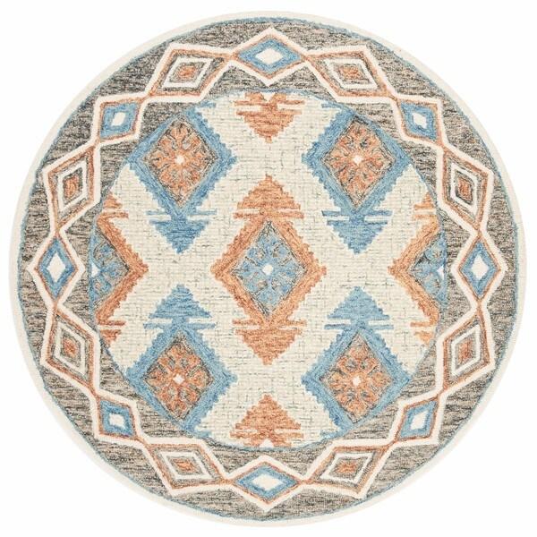 Safavieh Handmade Micro-loop Blue/ Beige Wool Rug - 5' Round