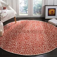 Safavieh Hand-Woven Marbella Red/ Ivory Polyester Rug - 6' x 6' Round