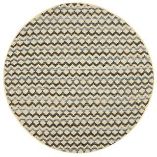 Safavieh Hand-Woven Montauk Gold/ Blue/Black Cotton Rug (4' Round)