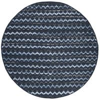 Safavieh Hand-Woven Montauk Turquoise/ Blue/Black Cotton Rug - 4' Round