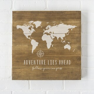 """World Map 16"""" Rustic Wood Sign"""