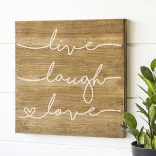 "Live Laugh Love 16"" Rustic Wood Sign"