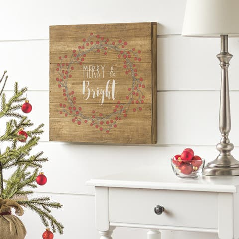 """Merry & Bright 16"""" Rustic Wood Sign"""