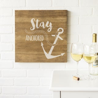 "Anchor 16"" Rustic Wood Sign"