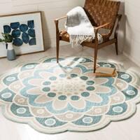 Safavieh Handmade Novelty Grey/ Blue Wool Rug - 4' x 4' Round