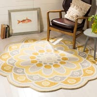 Safavieh Handmade Novelty Grey/ Gold Wool Rug - 6' Round