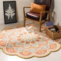 Safavieh Handmade Novelty Grey/ Rust Wool Rug - 6' Round