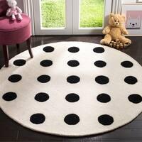 Safavieh Handmade Safavieh Kids Ivory/ Black Wool Rug - 5' x 5' round