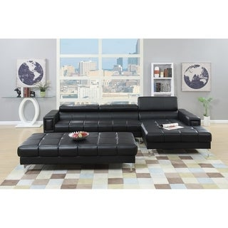 Bobkona Hayden Bonded Leather 2-Pcs Sectional Sofa Loveseat with Adjustable Back. Ottoman included
