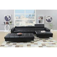 Bobkona Hayden Leather 2-piece Sectional Sofa Loveseat and Ottoman Set