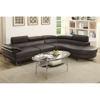 Bobkona Isidro Faux Leather sectional with Adjustable headrest.