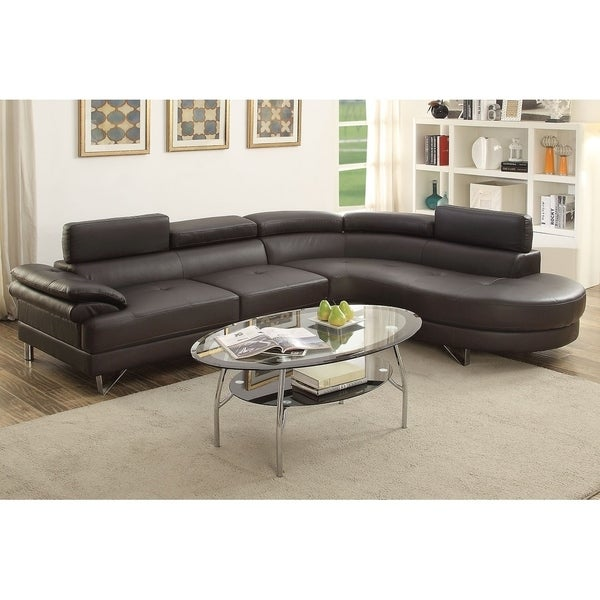 Shop Bobkona Isidro Faux Leather Sectional With Adjustable Headrest