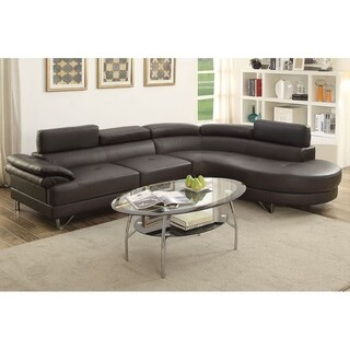 Bobkona Isidro Faux Leather Sectional Sofa (Option: Chaise)