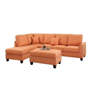 Bobkona Bandele Cotton Blend Polyfabric Sectional with ottoman set. (Option: Orange)
