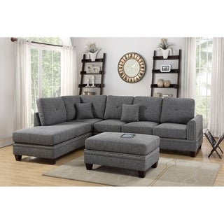 Bobkona Bandele Cotton Blend Polyfabric Sectional with ottoman set.