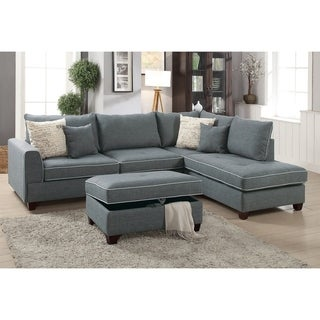 Bobkona Rianne Dorris Polyfabric Left or Right hand Chaise Sectional with Storage Ottoman set.