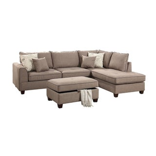 Bobkona Rianne Dorris Polyfabric Chaise Sectional and Storage Ottoman Set