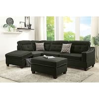 Bobkona Kathie Dorris fabric Left or Right hand Chaise Sectional Set with Storage Compartment and Ottoman