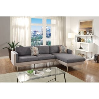 Bobkona Dreena Cotton Blend Polyfabric Sectional Two Tone.