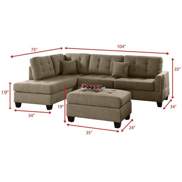 Poundex F6974 Bobkona Viola Linen-Like Polyfabric Left or Right Hand Chaise Sectional Set with Ottoman Pack of 3 Black