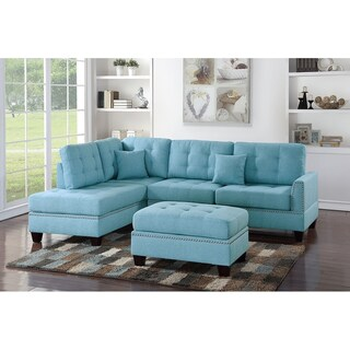 Bobkona Adolph Linen-like Polyfabric Left or Right hand Chaise Sectional Set with Ottoman (Option: Blue)