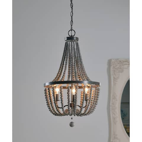 Zander Golden Bronze 3 Light Grey Wood Bead Chandelier - N/A